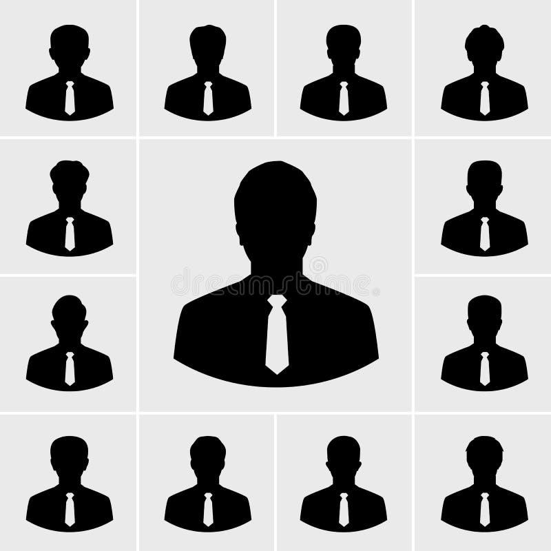 Icônes d'homme d'affaires, personnes de silhouettes dans le costume illustration stock