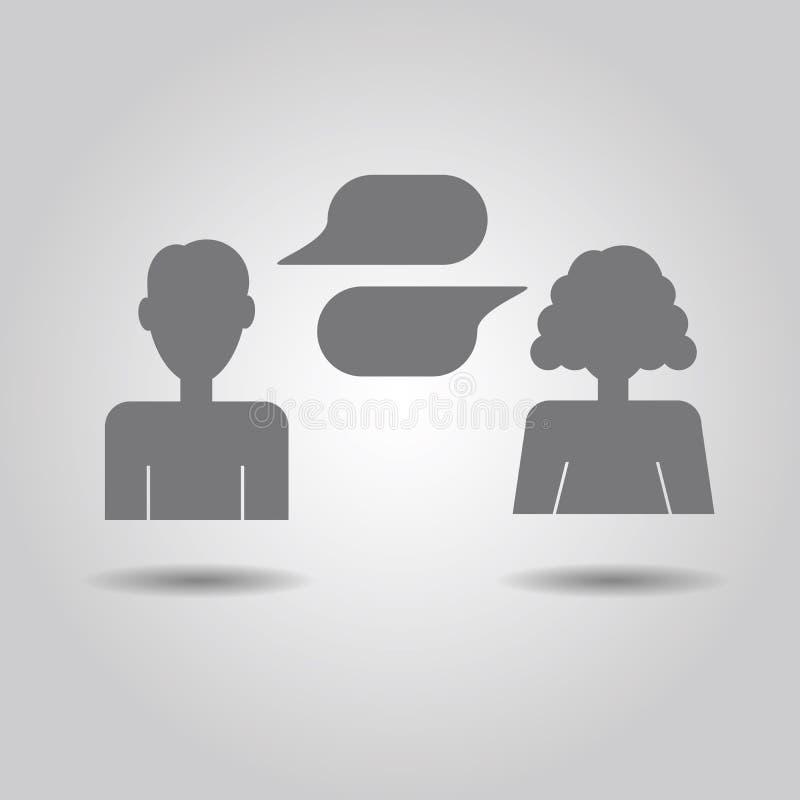 Icônes d'homme et de femme avec les bulles vides de la parole illustration stock