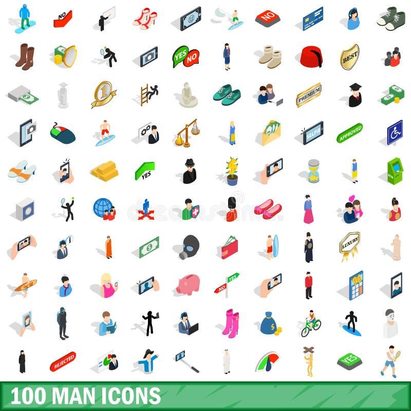 100 icônes d'homme réglées, style 3d isométrique illustration libre de droits