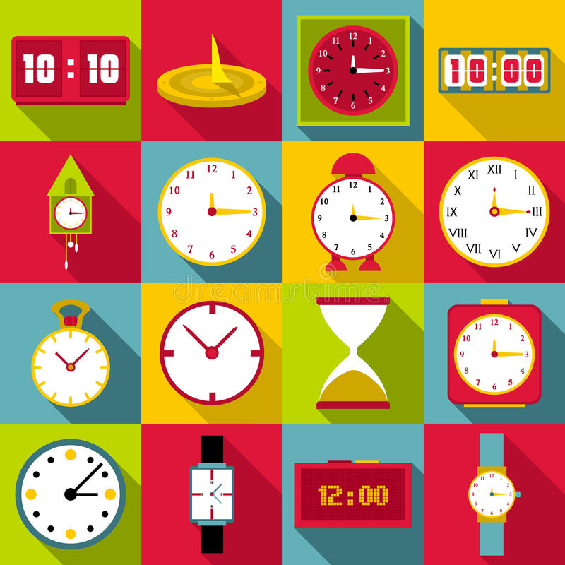 Icônes d'horloges réglées, style plat illustration libre de droits