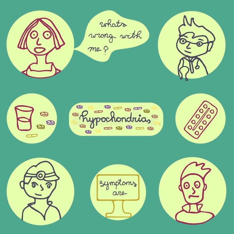 Icônes d'hypochondrie réglées illustration de vecteur