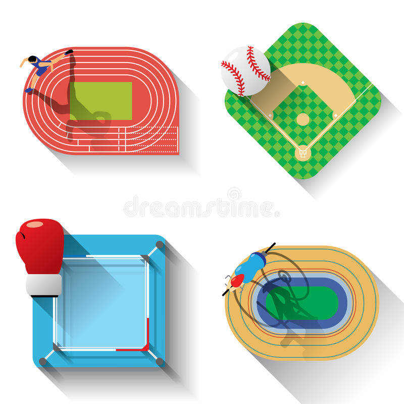 Icônes d'illustration de champs de sport réglées illustration libre de droits