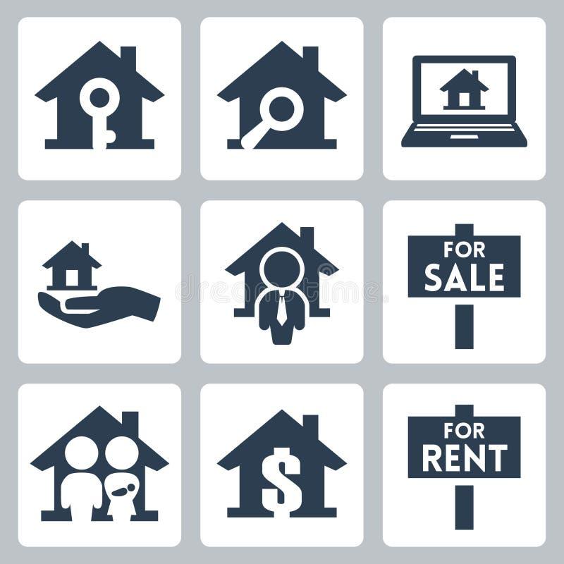 Icônes d'immobiliers de vecteur réglées illustration libre de droits