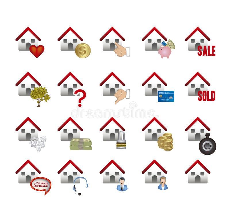Icônes d'immobiliers et de maison illustration libre de droits