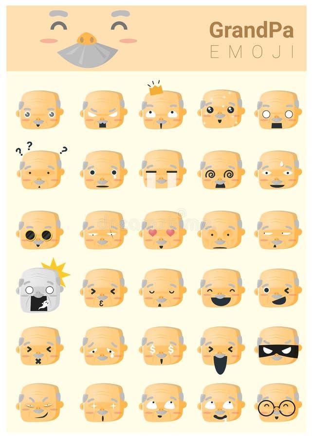 Icônes d'imoji de grand-papa illustration stock