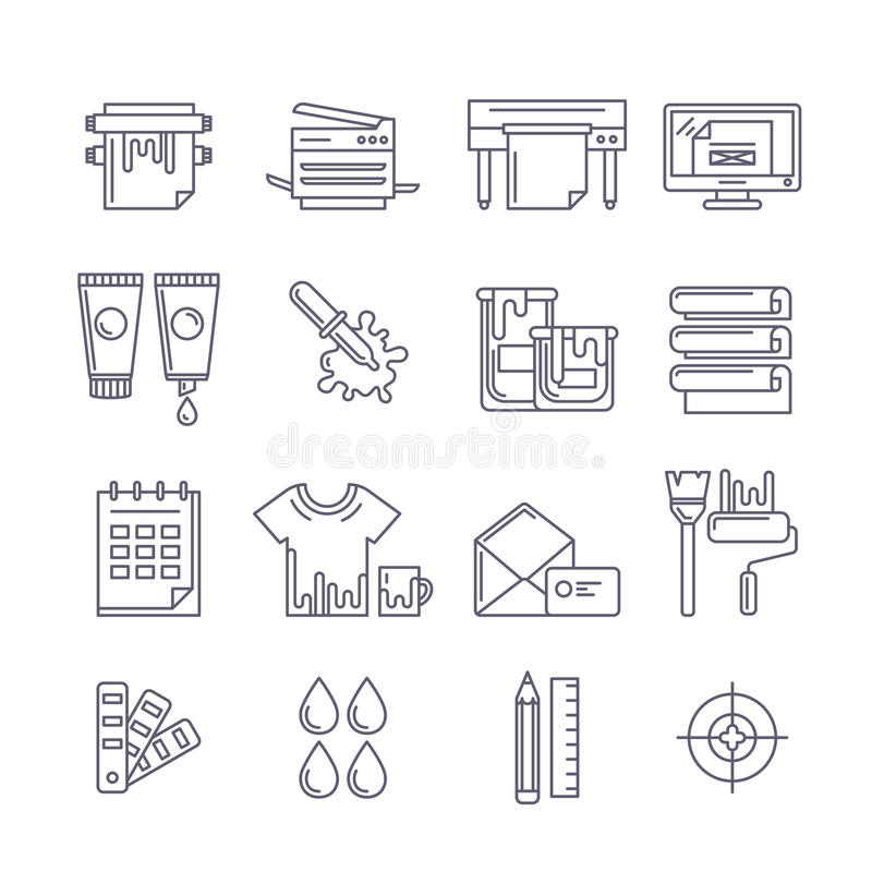 Icônes d'impression d'ensemble de vecteur réglées Imprimante, conspirateur, peintures et illustration de vecteur
