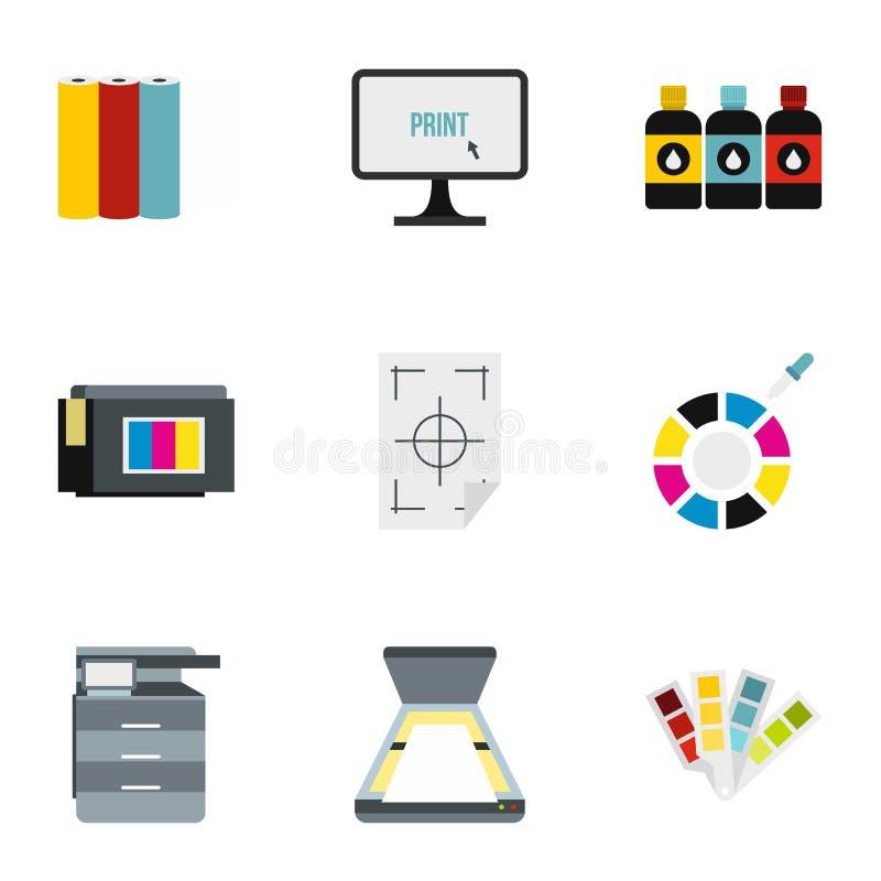 Icônes d'imprimante réglées, style plat illustration libre de droits