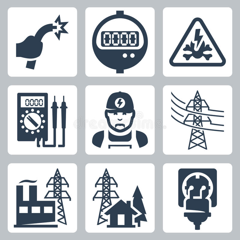Icônes d'industrie énergétique de vecteur réglées illustration stock