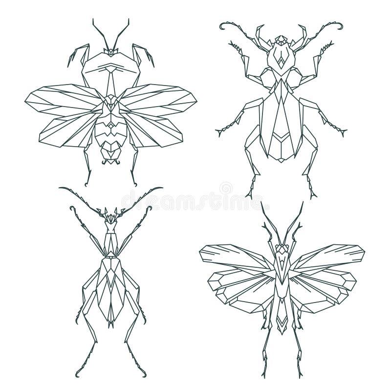 Icônes d'insecte, ensemble de vecteur Style triangulaire abstrait mante, sauterelle, fourmi, scarabée de charançon illustration stock
