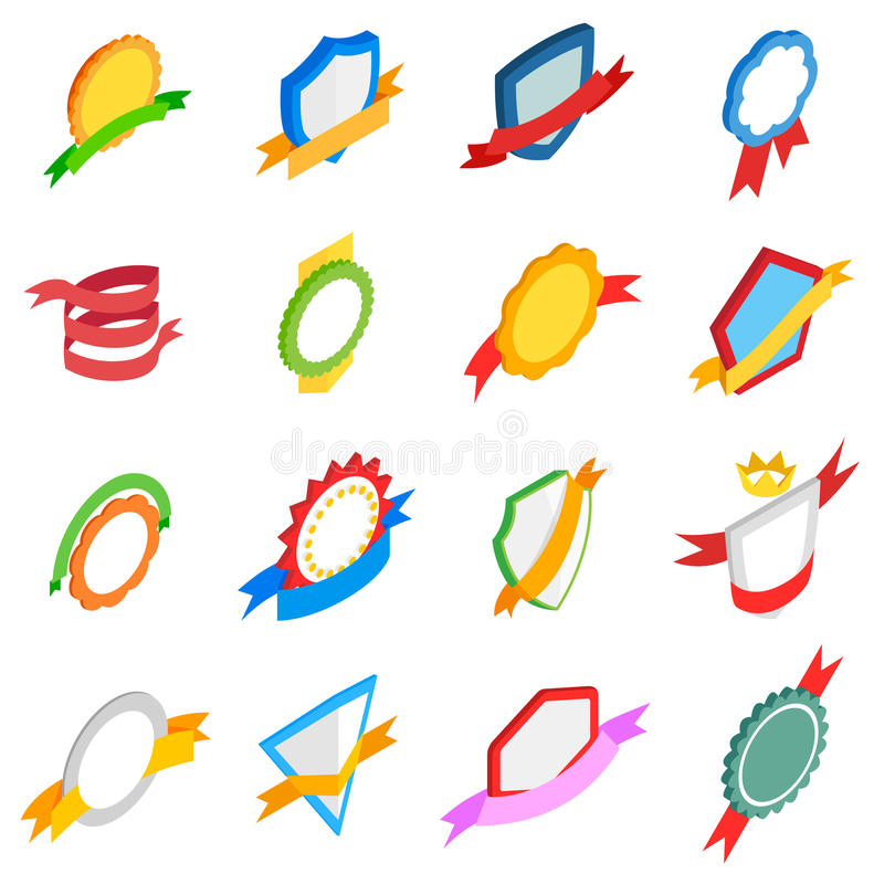 Icônes d'insignes réglées, style 3d isométrique illustration de vecteur