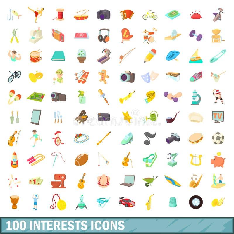 100 icônes d'intérêts réglées, style de bande dessinée illustration stock