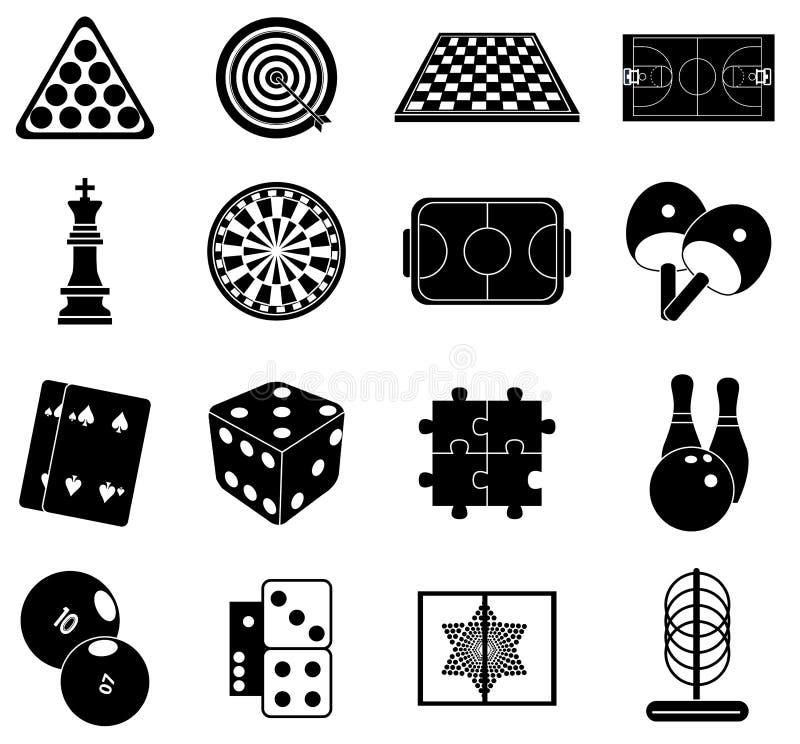 Icônes d'intérieur de jeux réglées illustration libre de droits