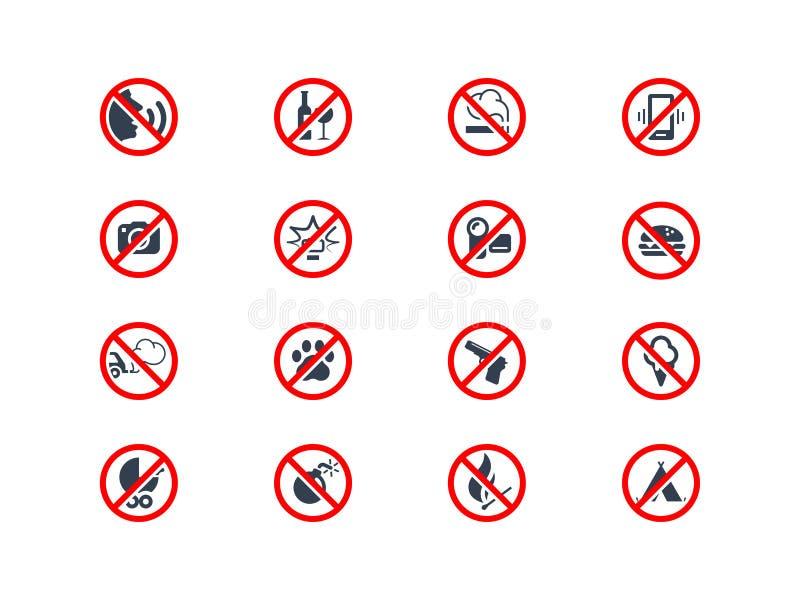 Icônes d'interdiction illustration de vecteur