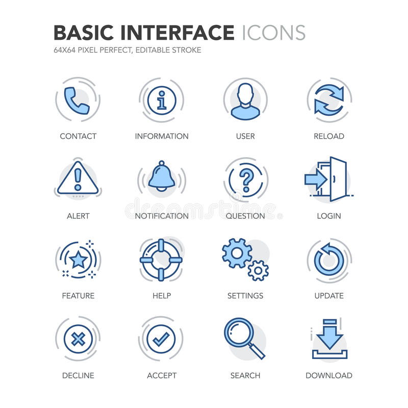Icônes d'interface de base de Blue Line illustration libre de droits