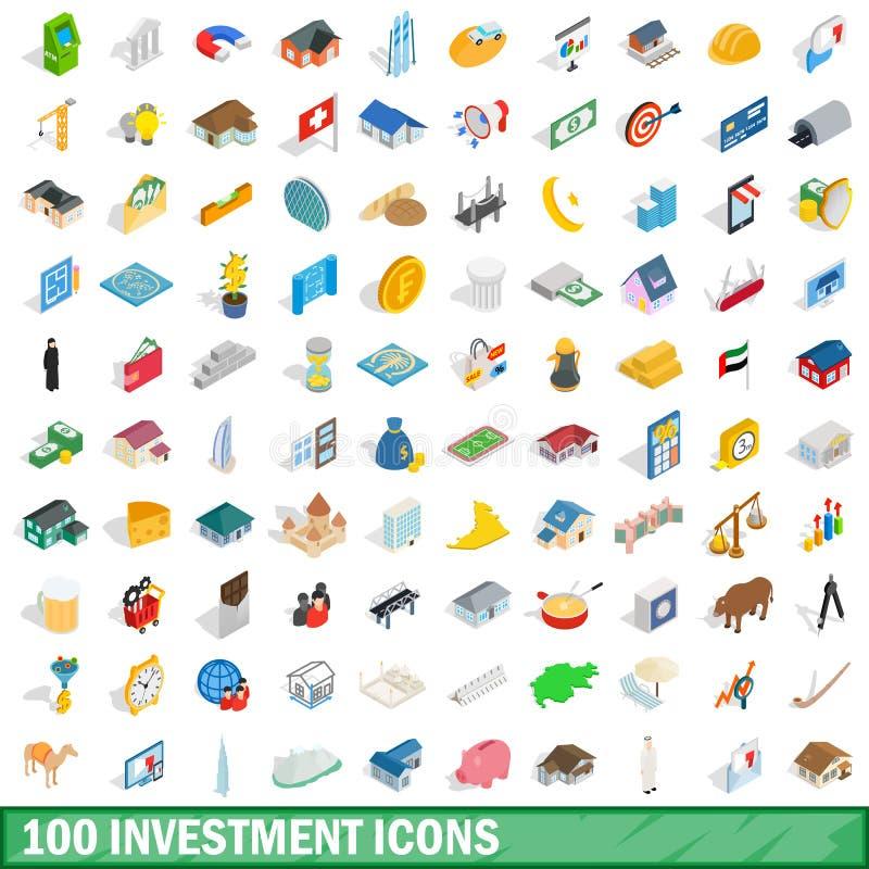 100 icônes d'investissement réglées, style 3d isométrique illustration de vecteur
