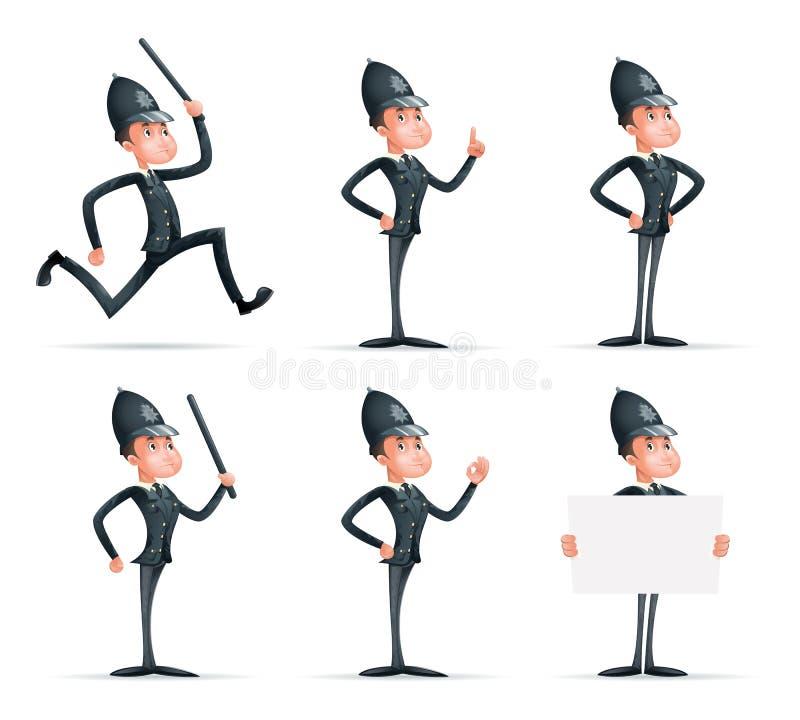 Icônes d'isolement par caractère de mascotte de bande dessinée de protection de sécurité du policier 3d de loi d'ordre de Man Uni illustration de vecteur