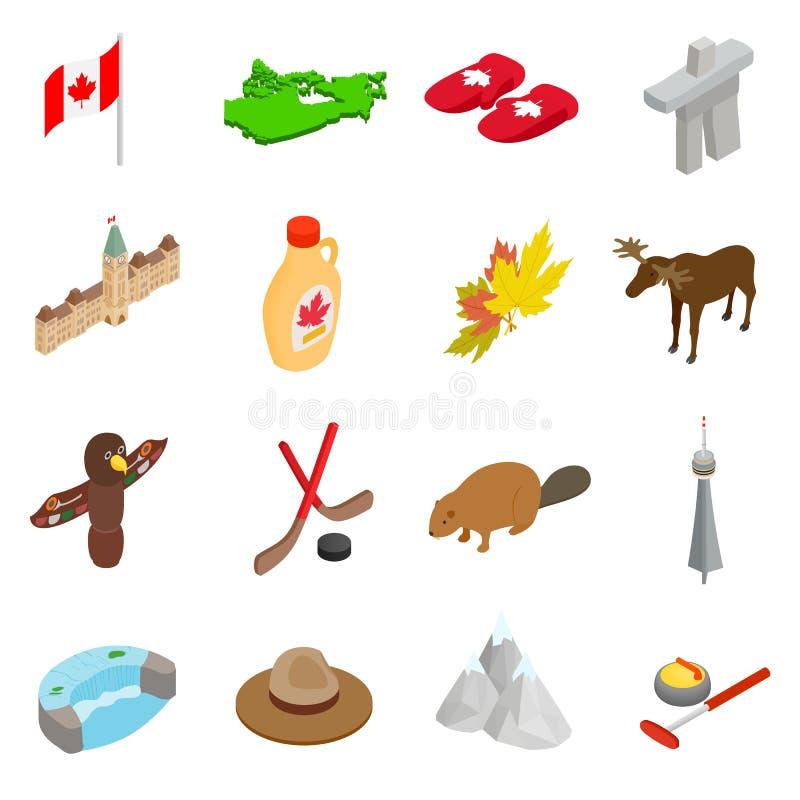 Icônes 3d isométriques de Canada réglées illustration de vecteur