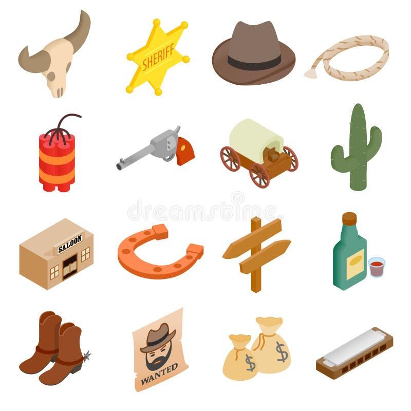 Icônes 3d isométriques de cowboy occidental sauvage illustration libre de droits