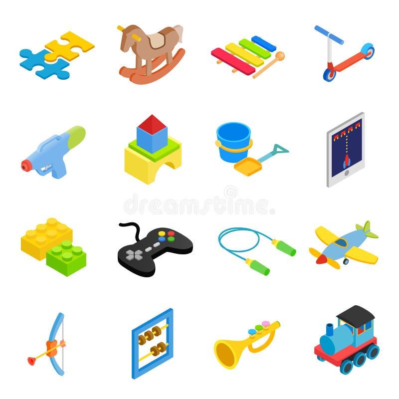 Icônes 3d isométriques de jouets réglées illustration de vecteur