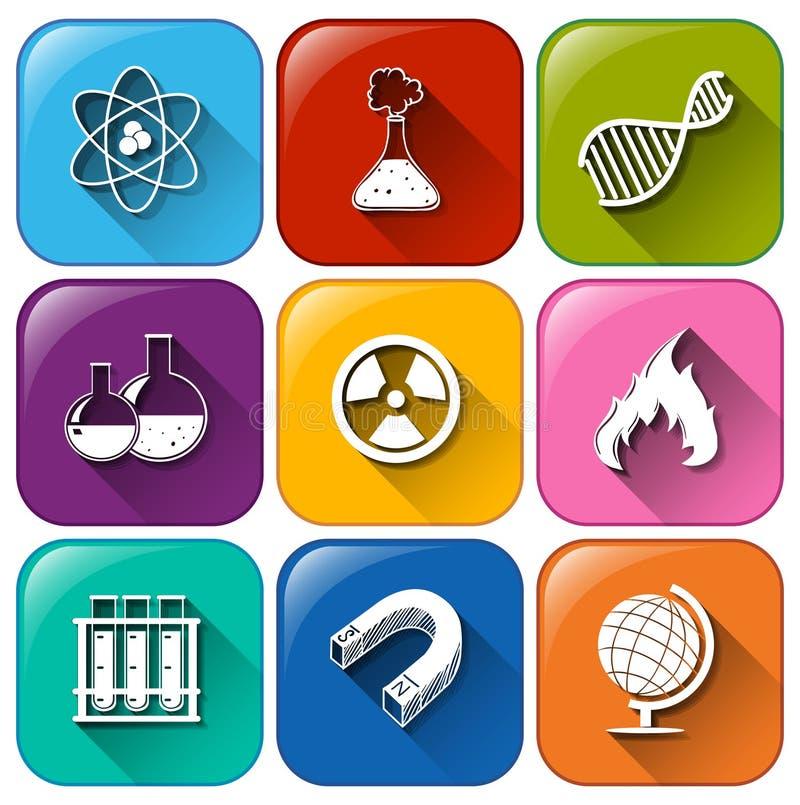 Icônes d'objet de la Science illustration stock
