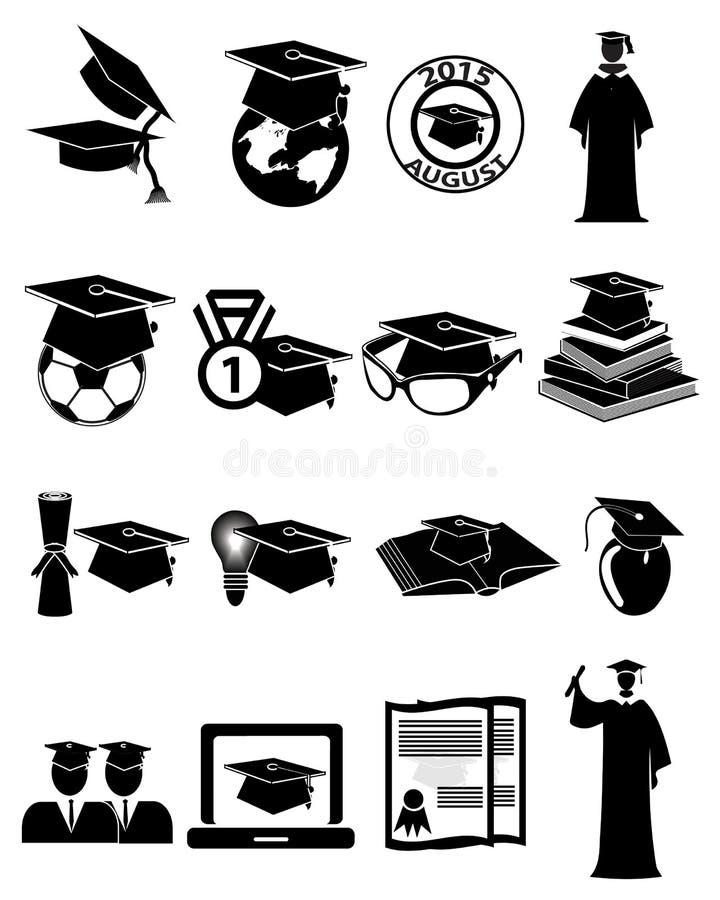 Icônes d'obtention du diplôme réglées illustration libre de droits