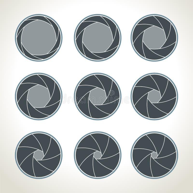 Icônes d'obturateur de caméra de vecteur réglées Ouverture et photographie, Camer illustration stock