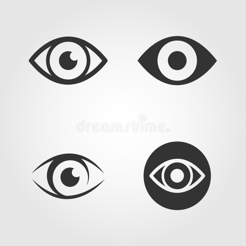 Icônes d'oeil réglées, conception plate illustration de vecteur
