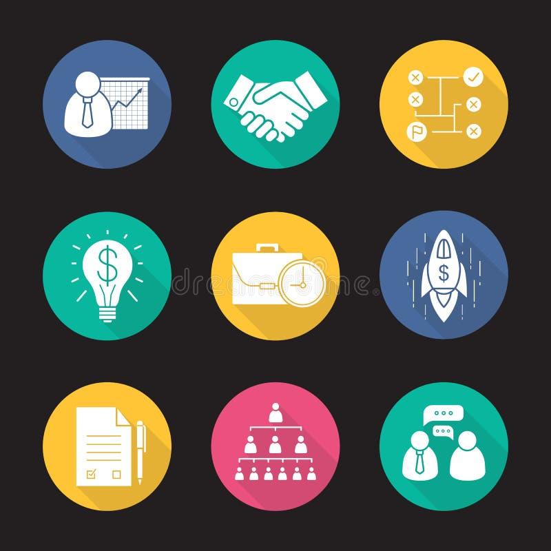 Icônes d'ombre de conception plate d'affaires longues réglées illustration libre de droits