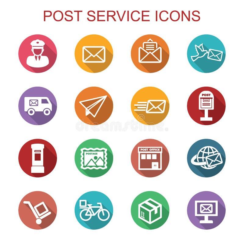 Icônes d'ombre de service de courrier longues illustration libre de droits