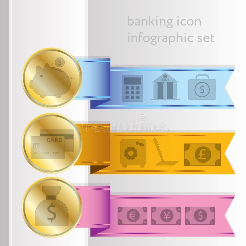 Icônes d'opérations bancaires, rubans infographic colorés illustration stock