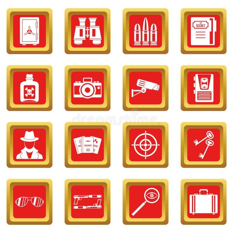 Icônes d'outils d'espion réglées rouges illustration stock