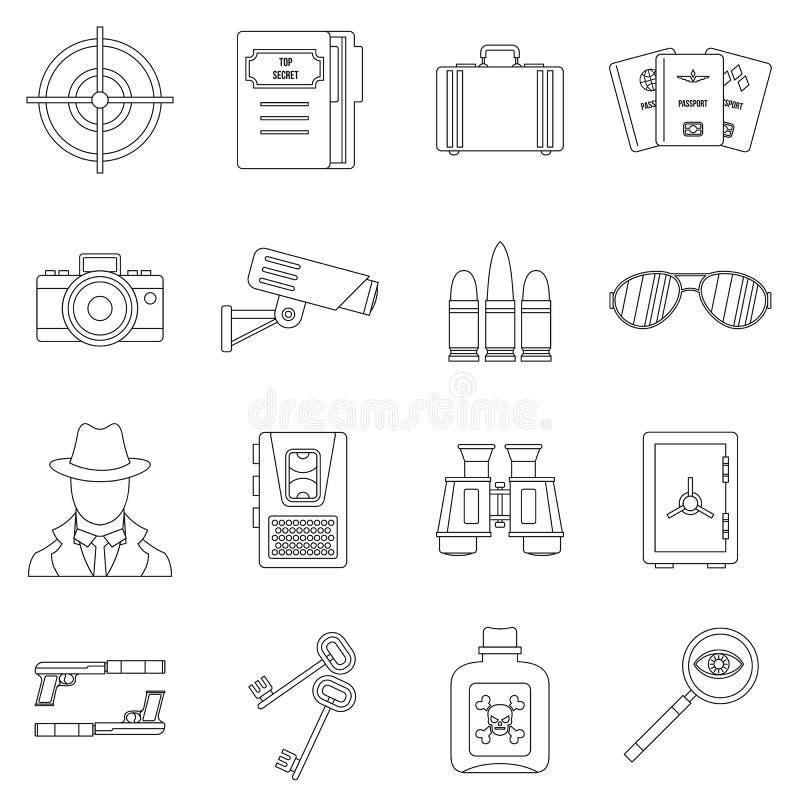 Icônes d'outils d'espion réglées, style d'ensemble illustration libre de droits