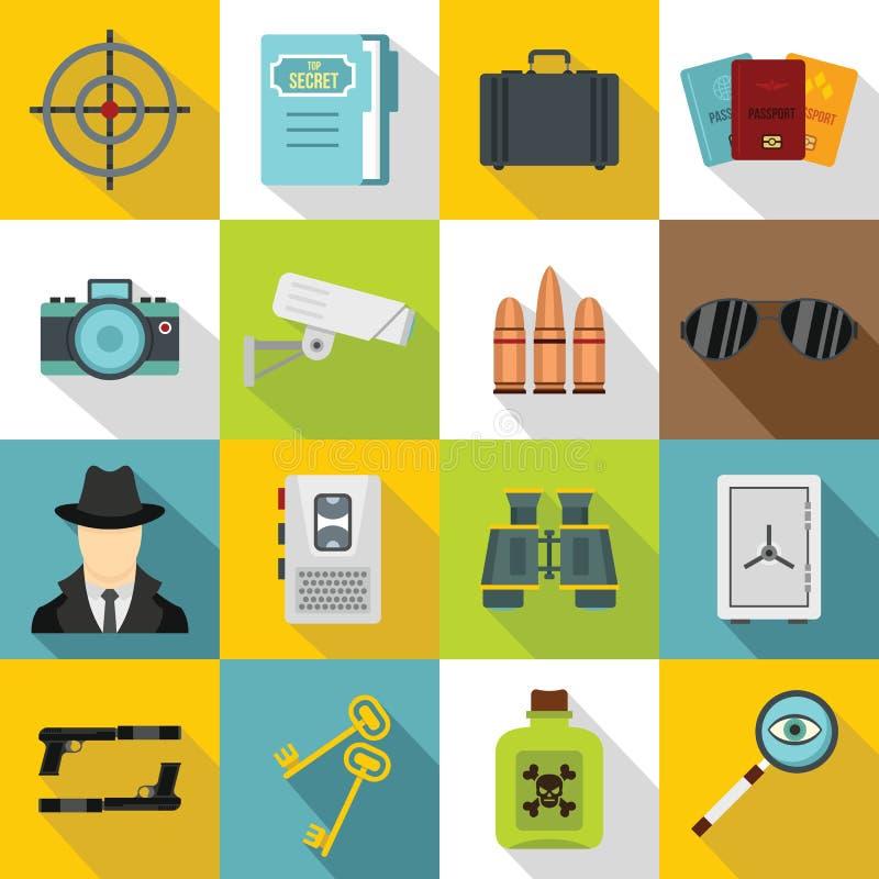 Icônes d'outils d'espion réglées, style plat illustration stock