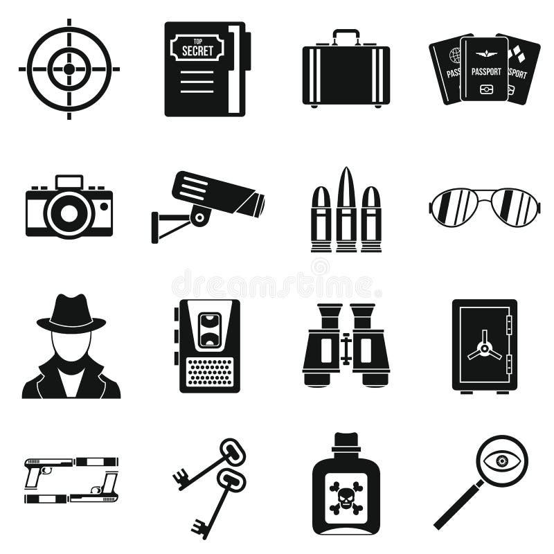 Icônes d'outils d'espion réglées, style simple illustration de vecteur