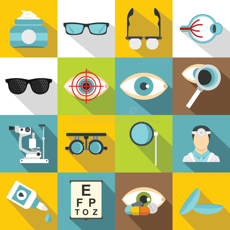 Icônes d'outils d'ophtalmologue réglées, style plat illustration de vecteur