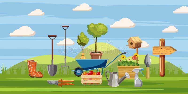 Icônes d'outils de jardinier réglées, style de bande dessinée illustration de vecteur