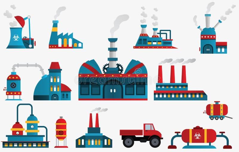 Icônes d'usine illustration stock