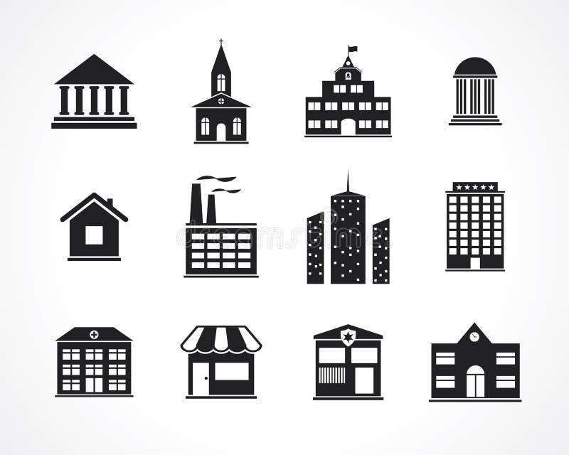 Icônes de bâtiment illustration de vecteur