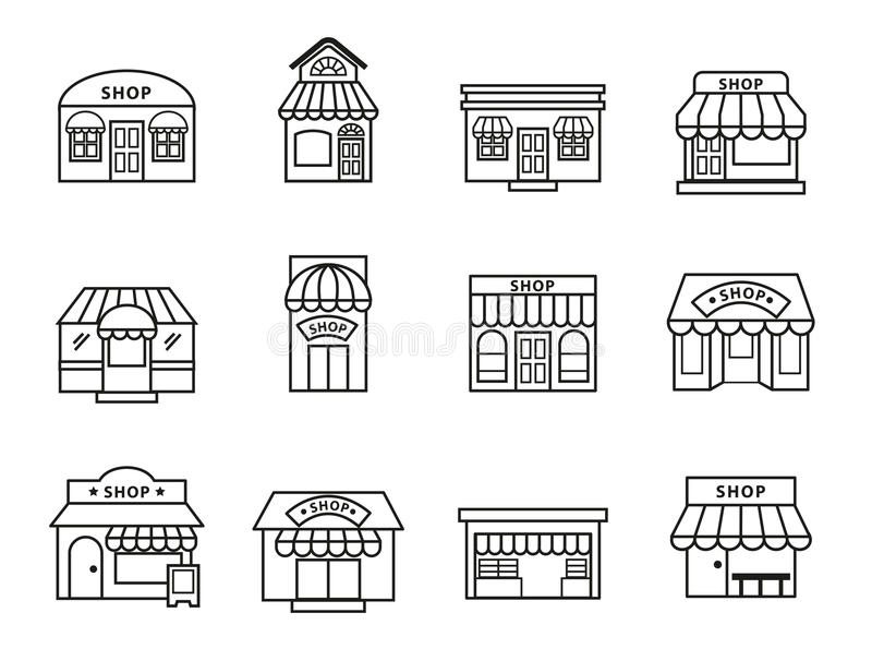 Icônes de bâtiment de boutiques et de magasins réglées photos stock