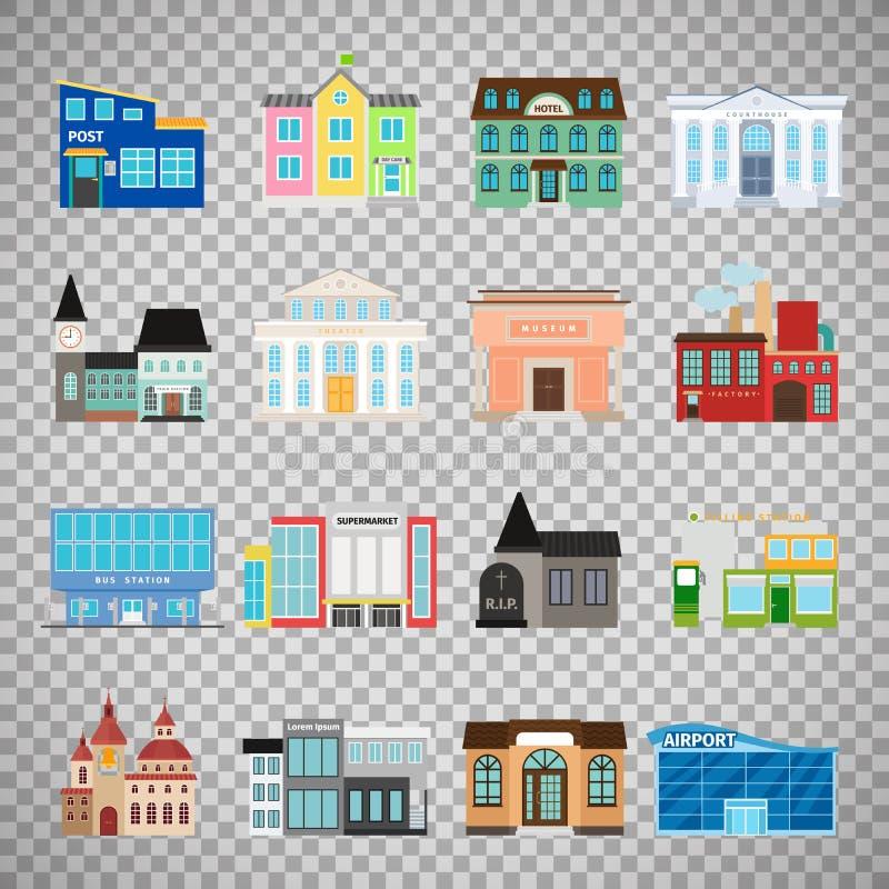 Icônes de bâtiments de ville sur le fond transparent illustration de vecteur