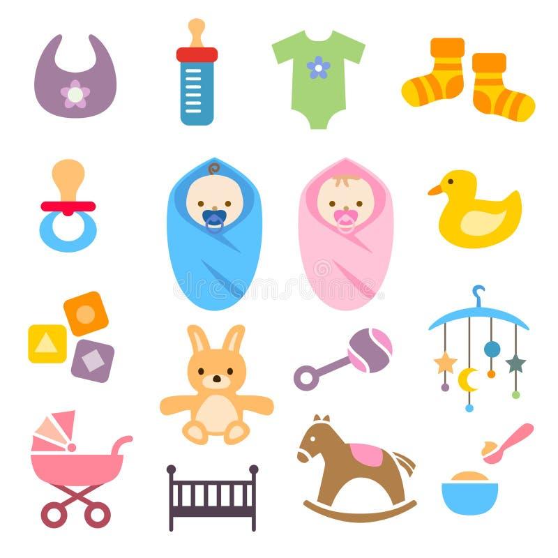 Icônes de bébé réglées illustration de vecteur