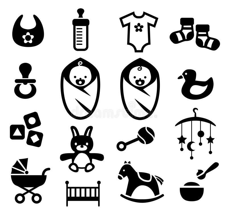 Icônes de bébé réglées illustration libre de droits