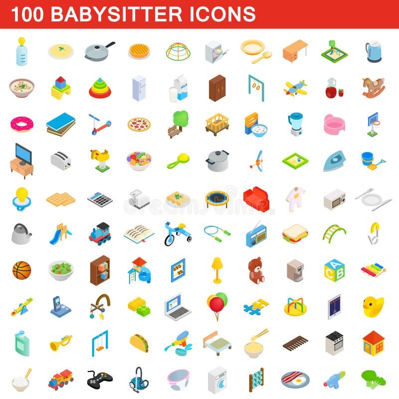 100 icônes de babysitter réglées, style 3d isométrique illustration stock
