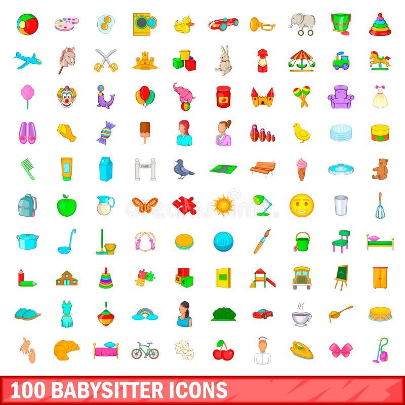 100 icônes de babysitter réglées, style de bande dessinée illustration de vecteur