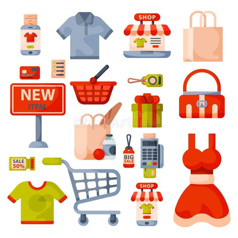 Icônes de bande dessinée d'épicerie de supermarché les rétros ont placé avec des produits de nourriture et de commerce de paniers illustration de vecteur
