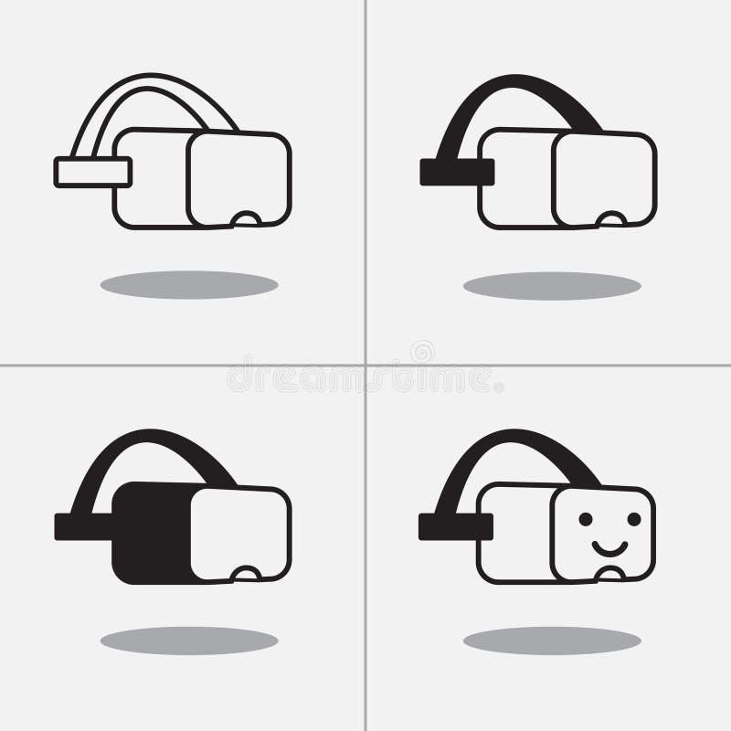 Icônes de bande dessinée de casque de réalité virtuelle images stock