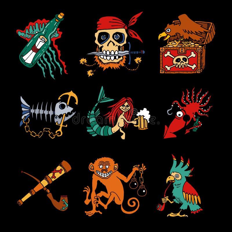 Icônes de bande dessinée de légendes de pirate sur le fond noir illustration stock