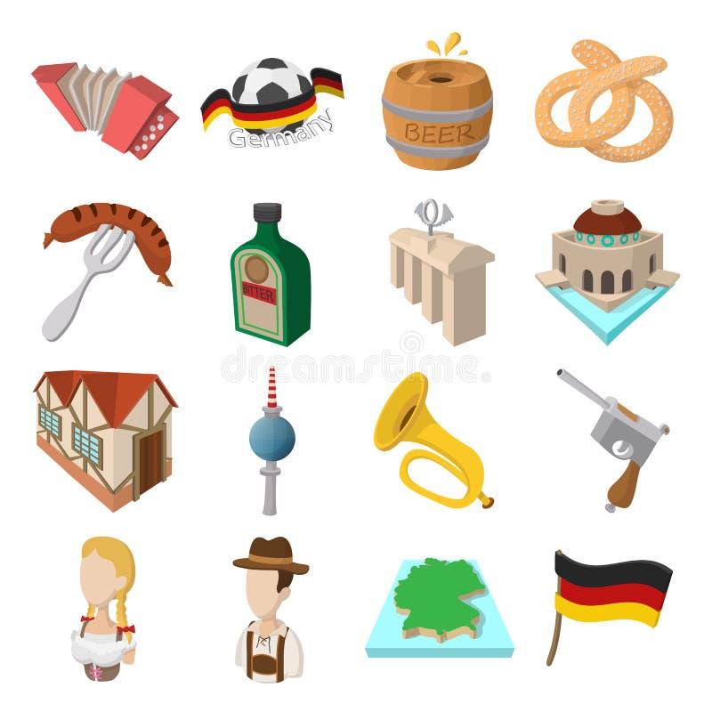 Icônes de bande dessinée de l'Allemagne illustration de vecteur