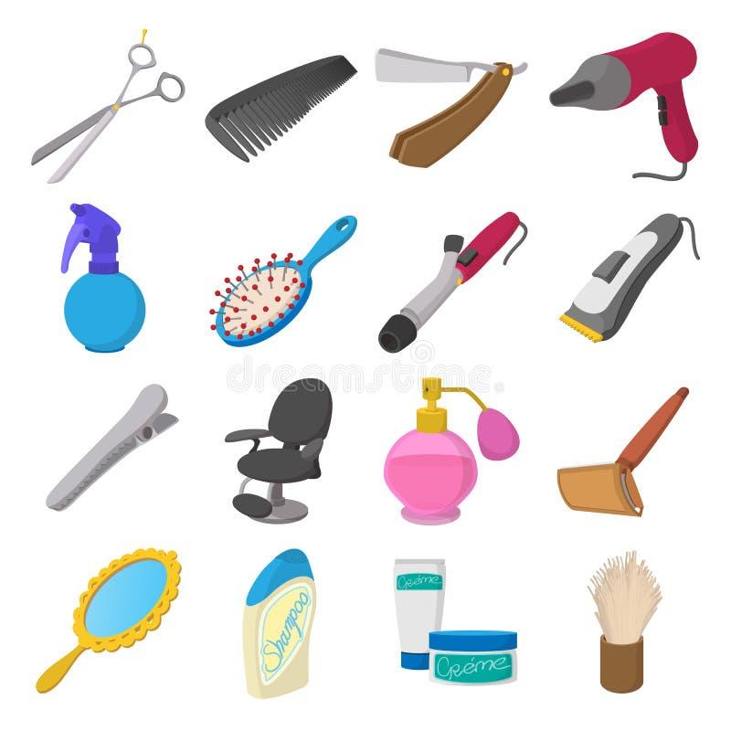 Icônes de bande dessinée de salon de coiffure illustration de vecteur