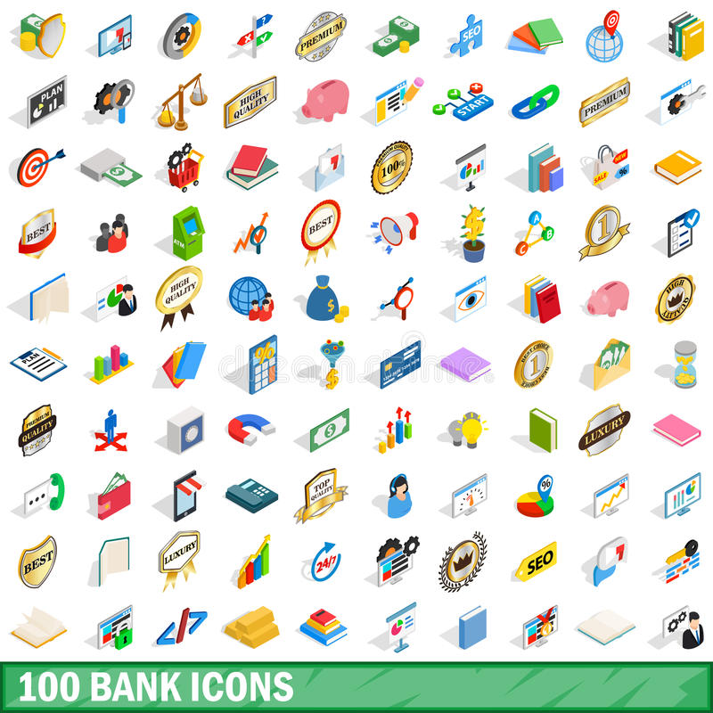 100 icônes de banque réglées, style 3d isométrique illustration de vecteur